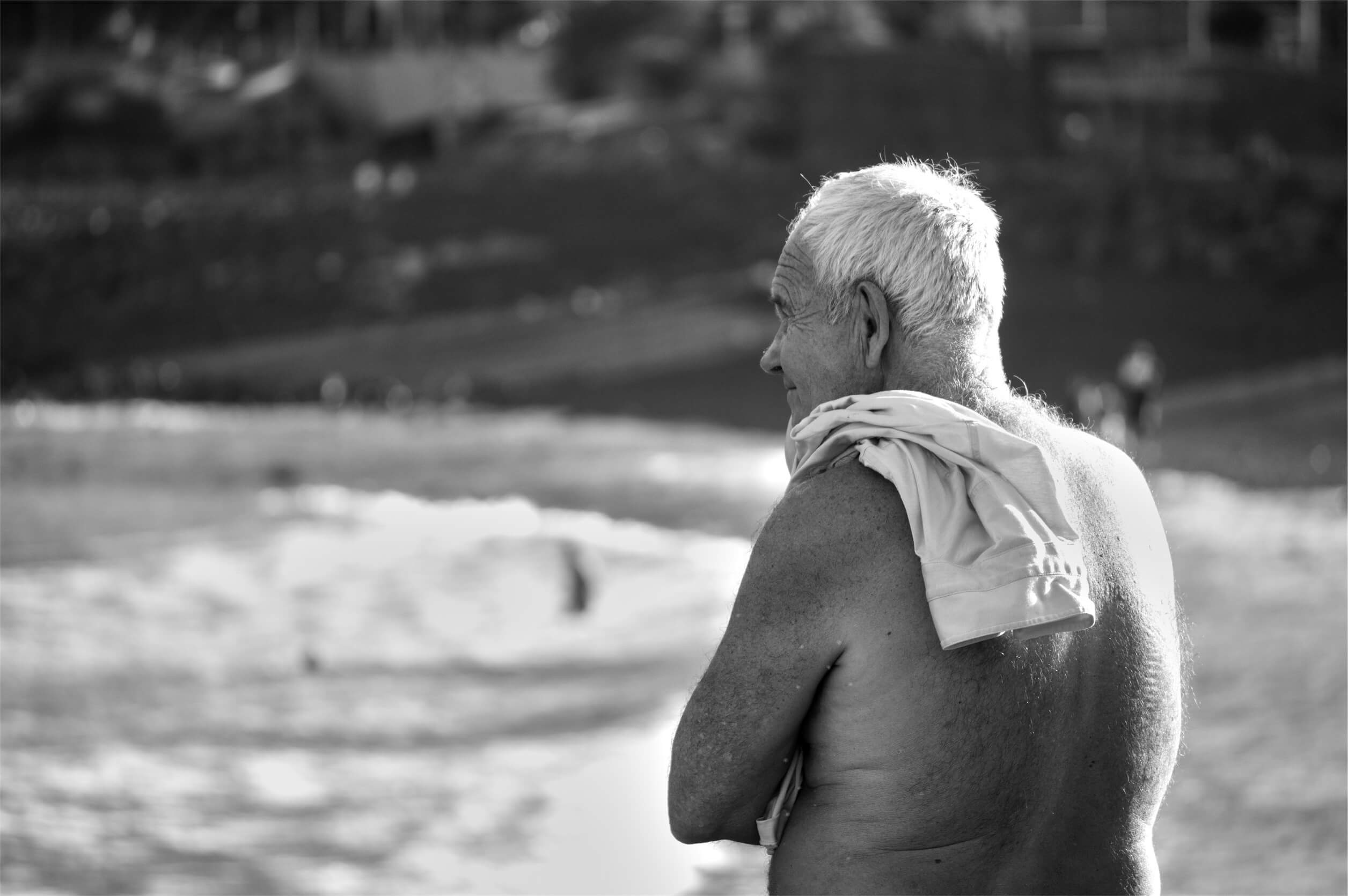 Old man in the beach