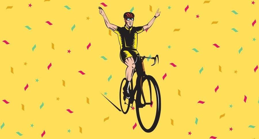 Ilustración de ciclista celebrando victoria